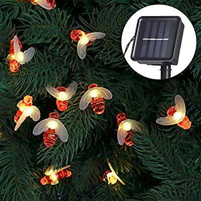 Tomshine Upgraded Solar String Lights Outdoor Waterproof 50 LED Solar Bee Fairy Lights 22.6ft 8 Lighting Modes with Control & Sensitive Light Sensor for Garden, Patio, Yard, Lawn (Warm White)