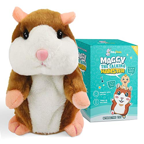 BABYTIMESORIGINALS - Maggy The Original Talking Hamster Toy . Repeats What You say! Interactive plush toy, educational and speech therapy toy.