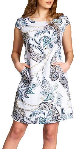 Caspar SKL022 Damen Sommer Leinenkleid mit Paisley Print bis Größe 50, Farbe:Weiss, Größe:3XL - DE46 UK18 IT50 ES48 US16