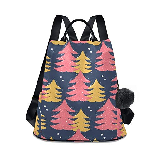 Waterproof Fashion Backpack for Women Anti Theft Womens Classical Daypack Travel Shoulder Bag Colorful Christmas Tree