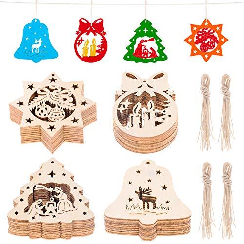 MELLIEX 40pcs Weihnachten Holzanhänger, Holz Ornament Aushöhlen Anhänger Weihnachten Christbaumanhänger DIY Basteln für Weihnachtsdeko