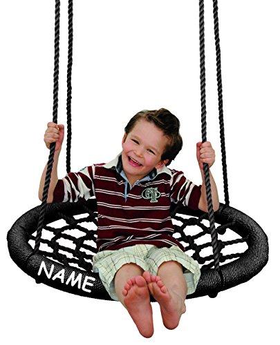alles-meine.de GmbH Rundschaukel / Netzschaukel - rund - XL Schaukel - incl. Name - bis 100 kg belastbar - für Kinder & Erwachsene - Seile 18 mm stark - Swing Schaukel - Tellersc..