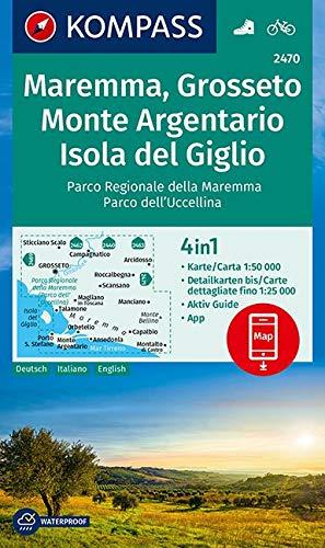 KOMPASS Wanderkarte Maremma, Grosseto, Monte Argentario, Isola del Giglio: 4in1 Wanderkarte 1:50000 mit Aktiv Guide und Detailkarten inklusive Karte ... (KOMPASS-Wanderkarten, Band 2470)