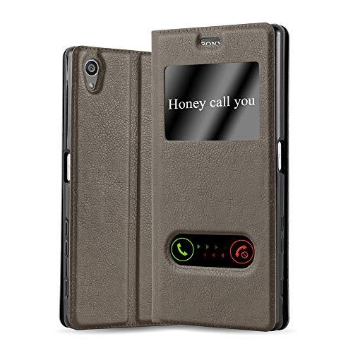 Cadorabo Hülle für Sony Xperia Z5 Premium - Hülle in Stein BRAUN – Handyhülle mit Standfunktion & 2 Sichtfenstern - Hülle Cover Schutzhülle Etui Tasche Book Klapp Style