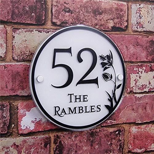 Preisvergleich Produktbild Victor Johnsond Hausnummern Türschilder Kreis Customized Transparent Acryl House Plaketten Zeichen Plates Haus Schilder 2137 (Color : White)