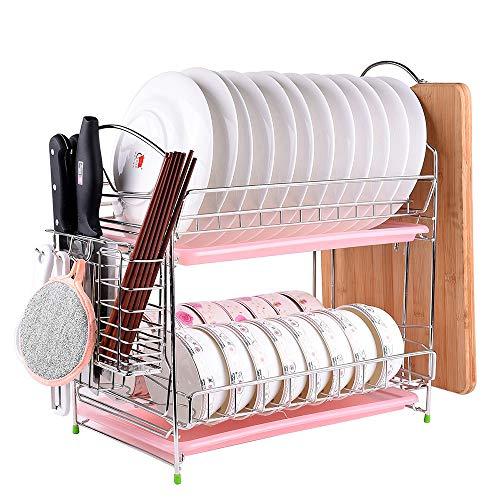 Liuxiaomiao-Home Afvoerrek Vaatwasser, Gemakkelijk te installeren Keuken Afneembare 2-laags Schaalrek Afvoerbord, Servies Droog Mand Voor Badkamer Keuken Organizer
