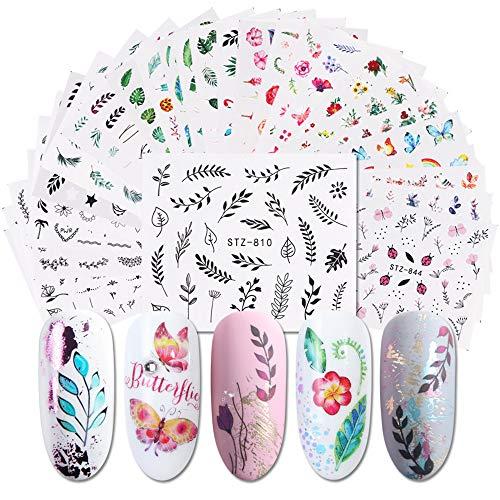 XUBX 29 Hojas Arte de uñas pegatinas, de arte de uñas mixtas, de Calcomanías Autoadhesivas Diy Etiqueta de Uñas, diy uñas consejos calcomanías, Etiqueta engomada de la transferencia de agua del