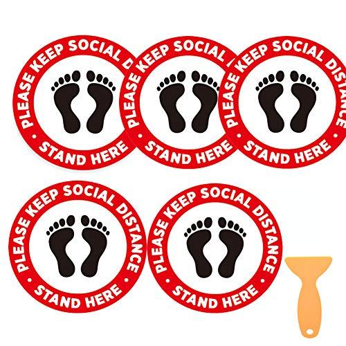 Segnale di distanza sociale misura 30,5 cm Cornavirus Social Distancing Floor Stickers Guidance Covid 19 per negozio ufficio confezione da 5