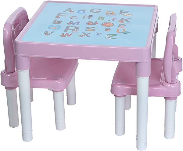 LUKSY US Direct Kids Plastic Table And 2 Chairs Set Alphabetic Letter Table Furniture For Toddlers Set For Boys Or Girls Toddler Lightweight Colorful Appearance Learn The Letters Pink