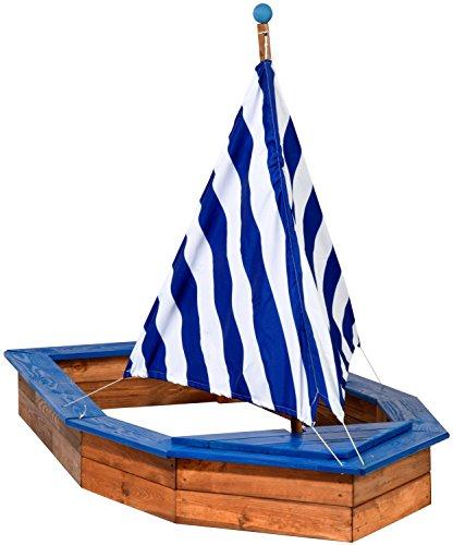 dobar 94600FSC - zandbak schip van hout groot, romp, zandkist boot voor kinderen XXL XL Outdoor, 180 x 96 x 125 cm, FSC-hout, wit/blauw