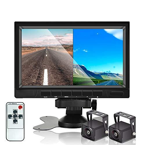 HD Recording Rückfahrkamera, 7-Zoll-Auto-Rückfahrkamerasystem mit geteiltem HD 1080P-Bildschirmmonitor, IP68-wasserdichte Rückfahrkamera mit Nachtsicht für LKW-Anhänger Wohnmobil Bus