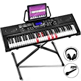 Mustar Keyboard Piano, 61 Lighted Keys, Electric Piano, Full Size Light Up Keyboards Piano for Beginners