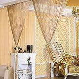 LOMYLM Cortina de cuerdas para puerta – Mosquitera para puerta – Panel de cortina de puerta de plata brillante con borla separador de habitación, 100 x 200 cm, color champán