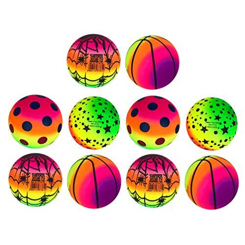 BESPORTBLE 10 unidades de 16 cm, bolas elásticas de PVC arcoíris, para playa, deportes, kickball flap, juguetes para niños, para interior y exterior (patrón aleatorio)