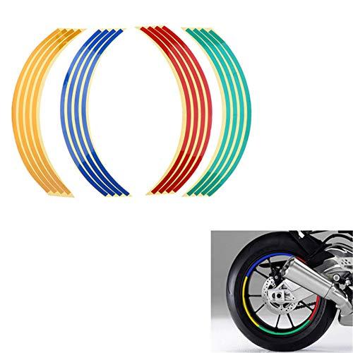 XYC 16 pegatinas reflectantes para llanta de motocicleta, impermeable, universal, para motocicleta, de 17 pulgadas/18 pies, para Honda Yamaha Suzuki