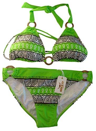 ROCK-IT Apparel® Bikini Triangolo Azteca, Bikini Push-up per Donna, Bikini a Due Pezzi, Taglie S-XL, Verde - Small
