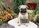 "Ebros Gift Large Adorable Pug Dog Garden Greeter Statue with Jingle Collar 11.25"" Tall Home Decor Figurine Pets Pugs Dogs Puppy Collectible Welcome Greetings Patio Lawn Sculpture"