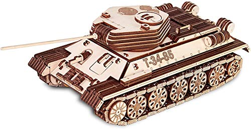 EWA Eco-Wood-Art Tank EWA EcoWoodArt 3D Holzpuzzle für Jugendliche und Erwachsene-Mechanischer Panzer T-34-85 Modell-DIY Kit, Selbstmontage, Natur