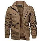 EKLENTSON Fleece Jacket Men Military Jacket Men Casual Jacket Lightweight Ski Jacket Men Army Jacket for Men Fashion Khaki