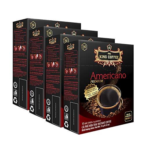 KING COFFEE INSTANT AMERICANO Premium 15 sticks x 1g | Medium-roasted Vietnamese Coffee| Mild acidity | Finely-ground roasted coffee - Pack of 4