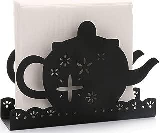 Paper Napkin Holder for Kitchen Tables and Counter Tops| Black Galvanized Napkin Basket Caddy| Vintage Modern Décor| Farmhouse Decoration (Tea Pot)