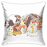 JACHE Fruits Basket Zodiac Animals + Rice Ball Decorative Throw Pillow Covers for Sofa Couch Cushion Pillow Cases 18x18 Inch