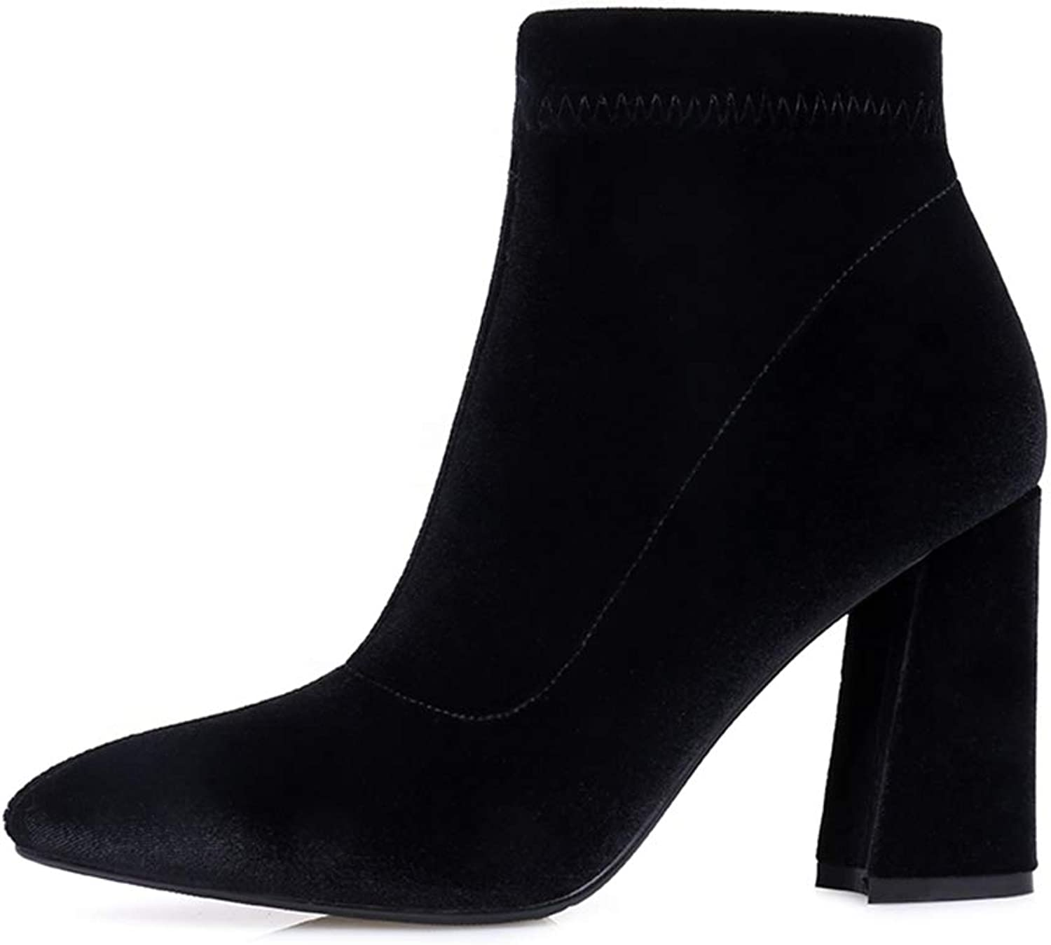Hoxekle Woman Charming Ankle Boots Pointed Toe Velvet Autumn Sexy High Chunky Heel Side Zipper Female Winter Footwear