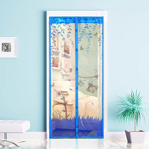Guajave - Cortina mosquitera magnética para puerta, 90 x 210 cm, azul, 100*210