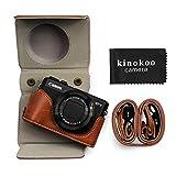 kinokoo Funda de piel sintética para Canon PowerShot G7 X Mark II/G7X Mark III, funda protectora Canon G7X III/G7X II (marrón)