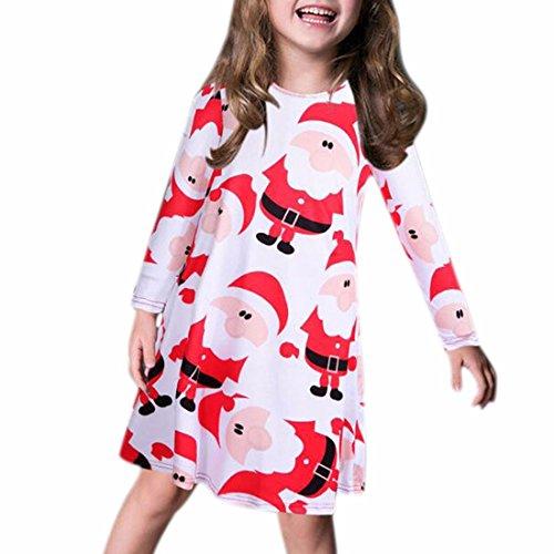 QIYUN.Z Ragazze dei Capretti Bambino Natale Cartone Animato Manica Lunga Vestito Dall'Oscillazione del Pupazzo di Neve di Natale