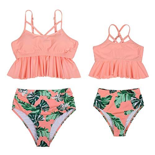 Jurebecia Traje de Baño de Dos Piezas para Madre e Hija Chaleco de Natación Familiar con Volantes para Niñas Mujer Bikini