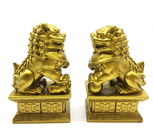 Feng Shui Decor Beijing Lions Cultural Statue Pair of Fu Foo Dogs Guardian Lion Statues Best Housewarming Congratulatory Gift to Ward Off Evil Energy (Color 2)