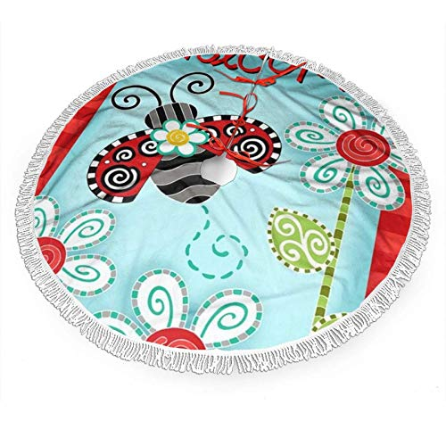 Ladybug Flower Print Christmas Tree Skirt with White Fringed Lace,New Year Festive Holiday Party Decoration(36 Inch)