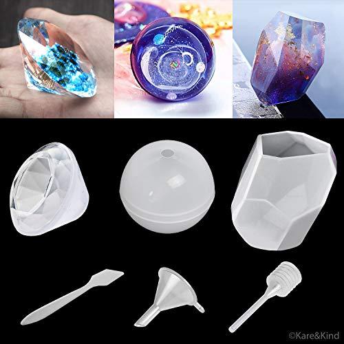 Kare & kind polymeer klei/hars epoxyvormen - set van 3 siliconen vormen - kristallen/diamant/bal - Maak je eigen heldere of ondoorzichtige objecten - Eenvoudig verwijderbaar na het vormen