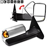 AUTOMUTO Towing Mirrors Fit For 2002-2008 Dodge Ram 1500 Truck 2009 Dodge Ram 2500 3500 Truck LH Driver Right RH Side Tow Mirrors Power Adjusted Heated Turn Signal Light Chrome Housing