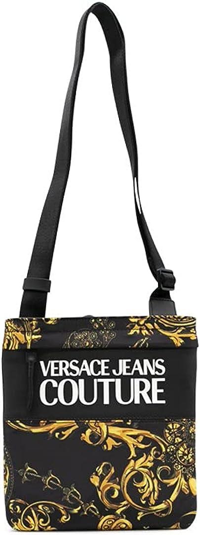 Versace Jeans Couture Correa de nailon negro con impresión Baroque y logotipo maxi