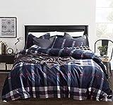 CLOTHKNOW Navy Plaid Tartan Duvet Cover Sets Full Queen Blue Plaid Men Checkered Bedding Set Boys 100 Cotton 3 pcs with Zipper Closure 1 Duvet Cover and 2 Envelope Pillowcases (3Pcs, Queen/Full Size)