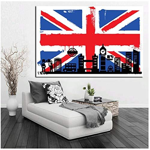 QYH HD-Druck London Flagge von Briten mit Big Ben abstrakte Ölgemälde auf Leinwand Moderne Wandkunst Bild für Wohnzimmer Sofa Poster-40X60Cm ungerahmt