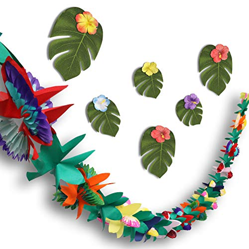 Zonon 2 Piezas 18 pies Banner de Flores Guirnalda de Flores Hawaianas con Hojas de Palmeras Tropicales Flores Tropicales y Puntos Adhesivos para Hawaianos, Luau Decoraciones para Fiestas Suministros