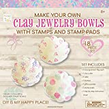 Hapinest DIY Clay Jewelry Dish with Stamps Arts and Crafts Kit Gifts for Girls Kids Ages 8 9 10 11 12 Years Old