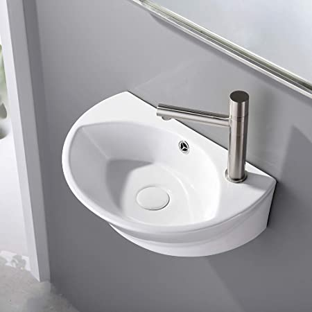 Edgewood 20 Inch Small Wall Mount Bathroom Sink White Heavy Duty Ceramic Modern Timeless Design With Overflow And Single Faucet Pre Drilled Holes Gloss Porcelain Coating Renovators Supply Vessel Sinks