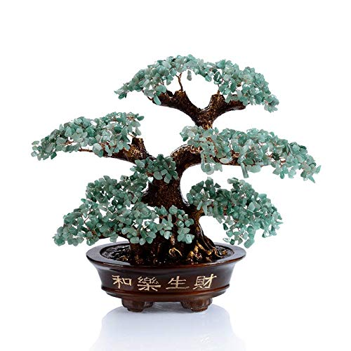 KALIFANO Natural Aventurine Gemstone Chakra Crystal Tree with Healing Properties - Bonsai Feng Shui Money Tree for Luck and Intelligence
