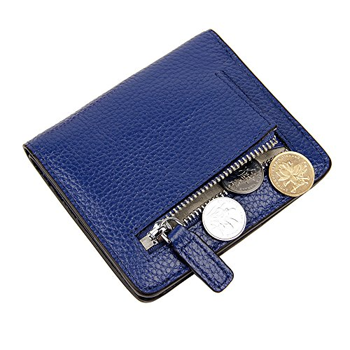 S-ZONE Women's Small Compact Genuine Leather Bi-fold Pebble RFID Blocking Wallet Bifold with Coin Holder and Picture ID Window Purse Pocket Wallet