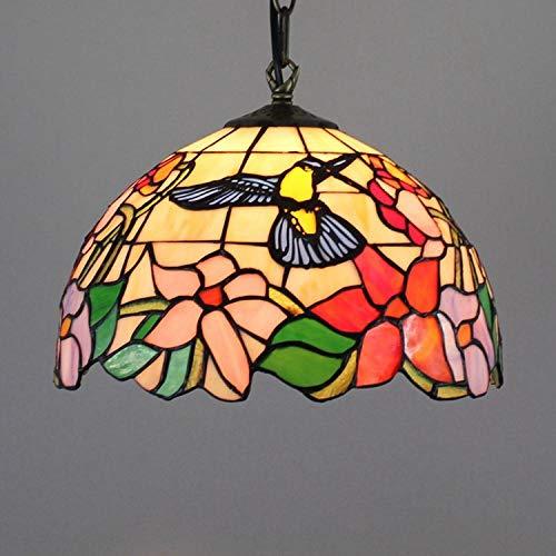 Restaurant kroonluchters Tiffany kleur glas restaurant Europese retro vogel verlichting 30cm glazen lamp