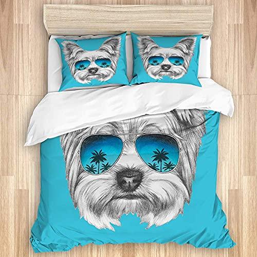 Nat999Lily Juego de Funda de edredón Lavado, Retrato de Yorkshire Terrier con Gafas de Sol de Espejo, Arte de Animal Lindo Dibujado a Mano, Juego de Cama Suave de Lujo de 3 Piezas (sin edredón)