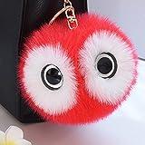 5.2' Lovely Big Eyes Panda Pom Pom Puff Ball Car Keyring Keychain, Bag Purse Charm Key Chain (Red)