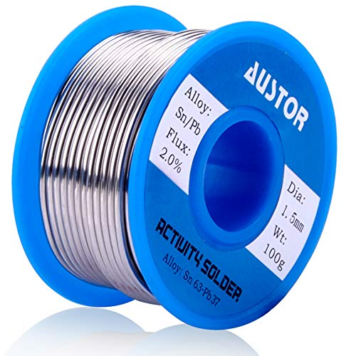 AUSTOR 63-37 Tin Lead Rosin Core Solder Wire for Electrical Soldering (1.5mm, 100g)