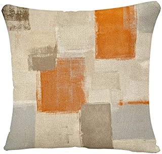 YGGQF Throw Pillow Covers Pillowcase Contemporary Brown Grey Beige Orange Abstract Painting Gray White Blocks Gallery Modern Home Decor Design Pillow Case for Couch Sofa Bed Chair 18x18 Inch