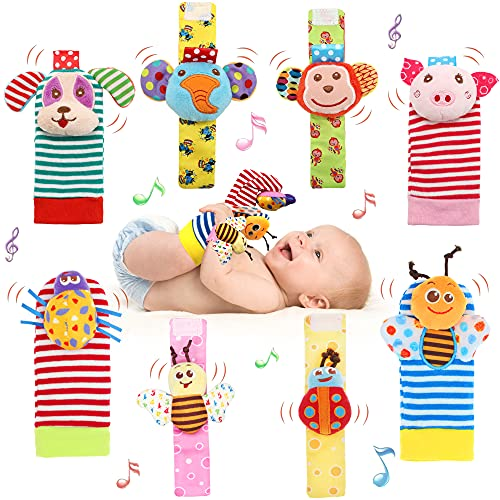 Bloobloomax Baby Einstein Toys Soft Rattle Foot Finder Socks Wrists Rattles Ankle Leg Feet Hand Arm Bracelet Activity Rattle Baby Shower Present Gift for Neborn Baby Infant Boy Girl Bebe (8 pcs)