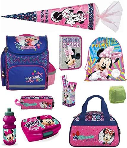 Familando Minnie Mouse Schulranzen-Set 17-TLG. Schultüte 85cm, Sporttasche, Federmappe und Regenschutz rosa blau pink Maus